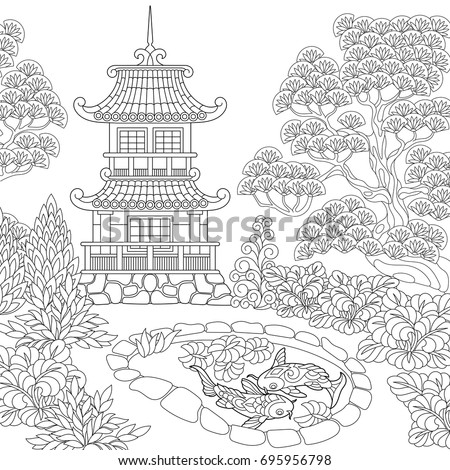 Buddhist Garden Coloring Pages
