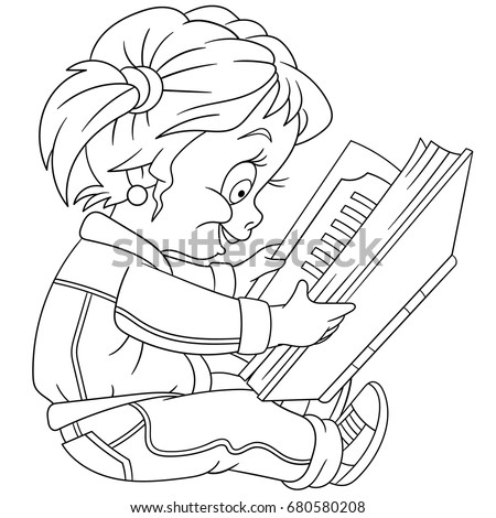Coloring Page Of Preschool Girl Reading A Book Colouring For Kids And Children
