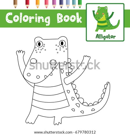kids coloring pages stock images, royalty-free images & vectors ... - Alligator Clip Art Coloring Pages