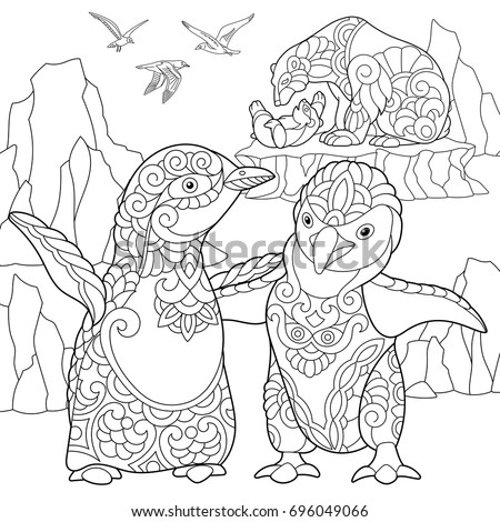 Coloring Page Of Young Emperor Penguins Polar Bears And Seagulls Freehand Sketch Drawing For