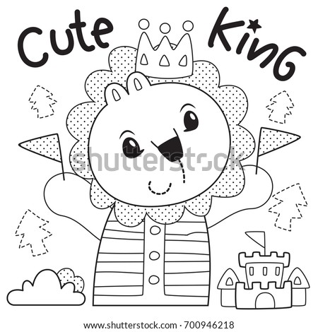 Coloring Page Outline Happy Cartoon Cute Lion Wearing A Crown Is King Of The Jungle