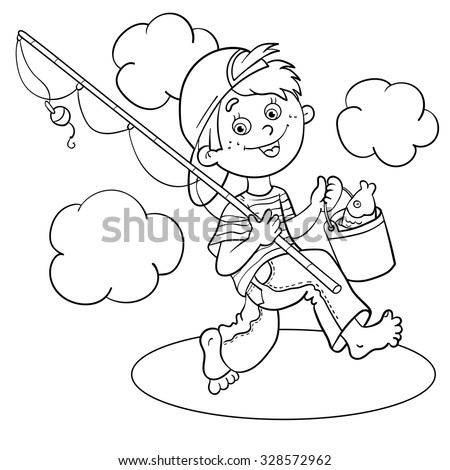 Coloring Page Outline Of A Cartoon Boy Fisherman With Fishing Rod And Catch