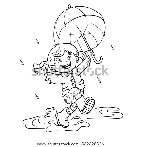 dancing in the rain coloring page with umbrella stock photos images amp pictures 7655
