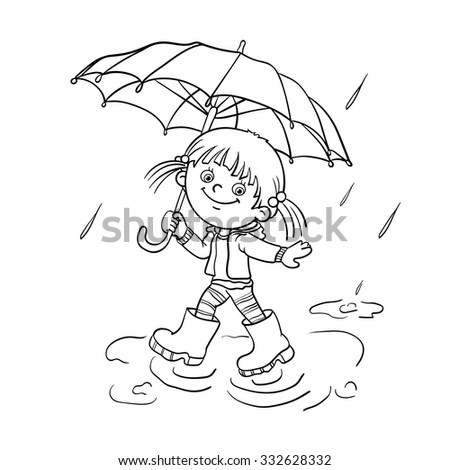 coloring page outline of a cartoon joyful girl walking in the rain with an umbrella