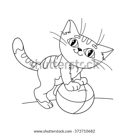 Coloring Page Outline Of a cartoonkitten playing with ball. Coloring book for kids