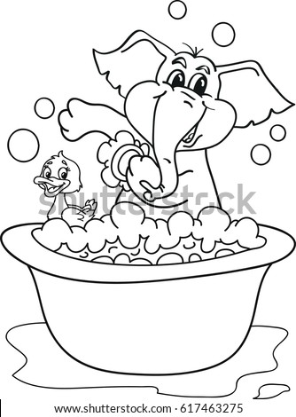 Coloring Page Outline Cartoon Baby Elephant Stock Vector 617463275 ...