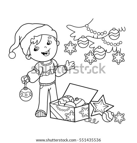 Coloring Page Outline Of cartoon boy decorating the Christmas tree with ornaments and gifts. Christmas. New year. Coloring book for kids