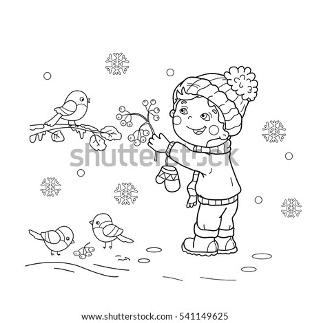 Coloring Page Outline Of Cartoon Boy Feeding Birds Winter Book For Kids