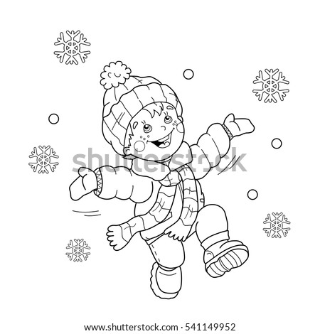 coloring page outline of cartoon boy jumping for joy first snow winter coloring