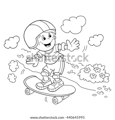 Coloring Page Outline Cartoon Boy On Stock Photo (Photo, Vector ...