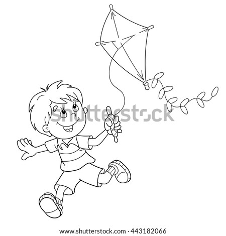 Coloring Page Outline Of Cartoon Boy Running With A Kite Book For Kids