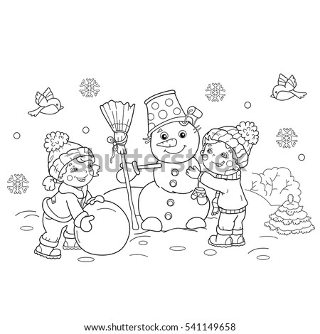 coloring page outline of cartoon boy with girl making snowman together winter coloring book