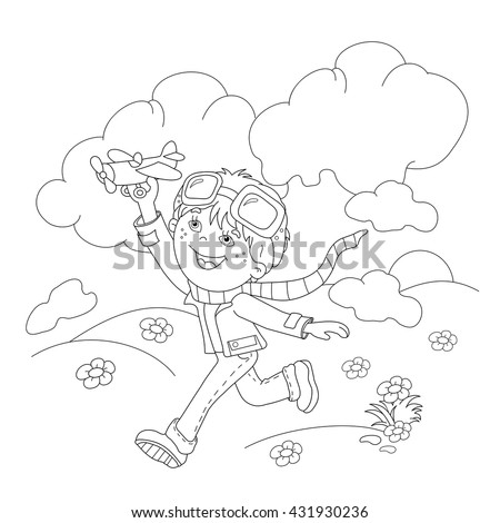 coloring page outline of cartoon boy with toy plane coloring book for kids