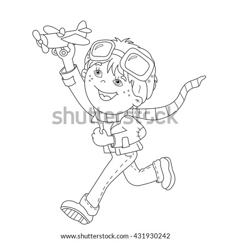 Coloring Page Outline Of Cartoon Boy With Toy Plane Book For Kids