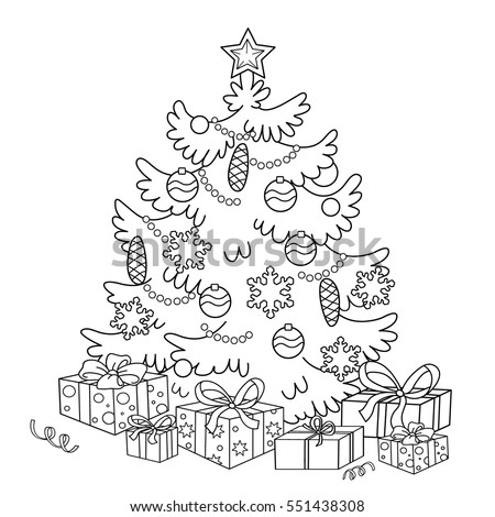 Coloring Page Outline Cartoon Christmas Tree Stock Vector (Royalty ...