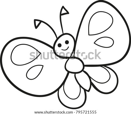 Coloring Page Outline Of Cartoon Cute Butterfly Vector Illustration Book For Kids