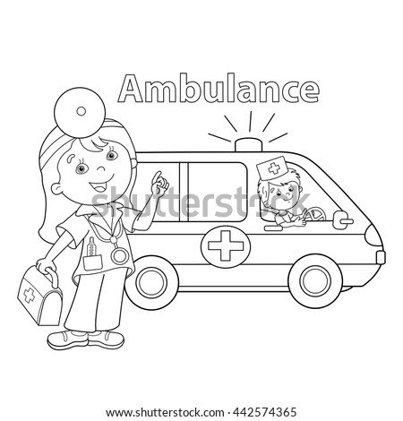 coloring page outline of cartoon doctor with first aid kit ambulance car profession - Aid Coloring Pages Kids