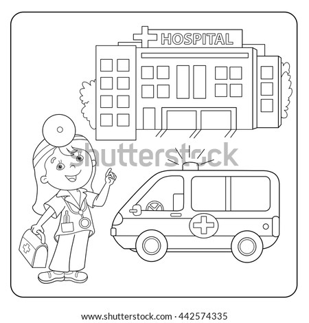 coloring page outline of cartoon doctor with first aid kit profession medicine coloring - Aid Coloring Pages Kids