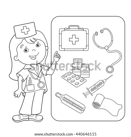 Coloring Page Outline Of Cartoon Doctor With First Aid Kit Set Medical Instruments