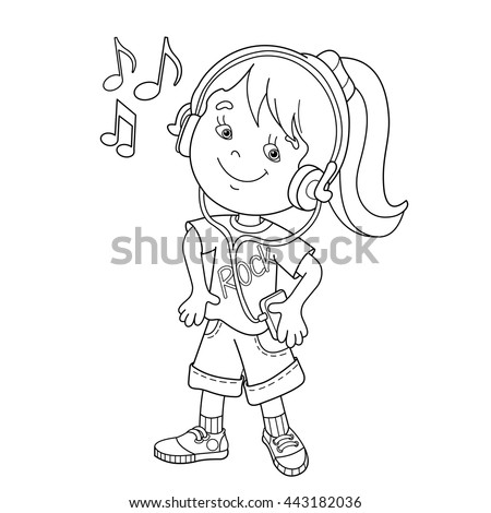 Coloring Page Outline Cartoon Boy Girl Stock Vector 424589875