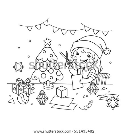 coloring page outline of cartoon girl making christmas paper lanterns christmas new year - Coloring Book Paper Stock
