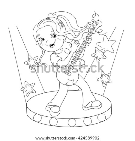 Coloring Page Outline Of cartoon girl playing the guitar on stage. Coloring book for kids