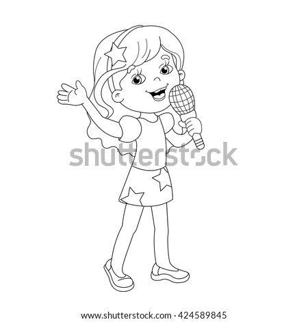 Coloring Page Outline Of Cartoon Girl Singing A Song Book For Kids