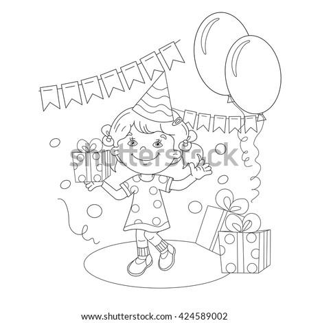 Coloring Page Outline Of cartoon girl with a gift at the holiday. Coloring book for kids - stock vector