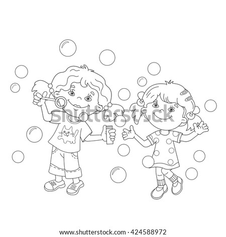 coloring page outline of cartoon girls blowing soap bubbles together coloring book for kids