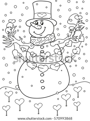 Coloring Page Outline Cartoon Snowman Valentines Stock Vector ...