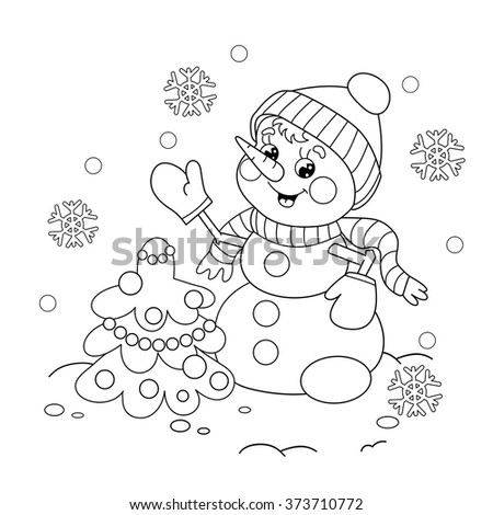 Coloring Page Outline Of Cartoon Snowman With Christmas Tree Winters Book For Kids