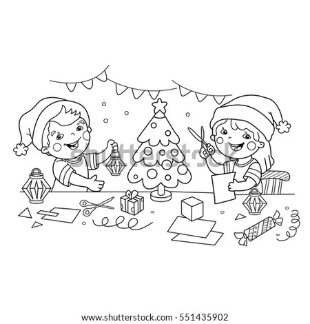 coloring page outline of children make paper christmas lanterns christmas new year coloring - Coloring Book Paper Stock