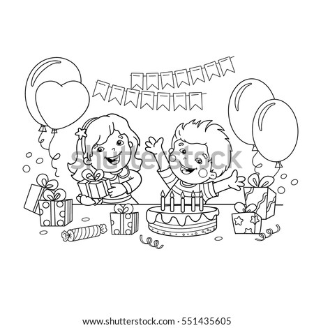 Coloring Page Outline Children Gifts Holiday Stock Vector 551435605 ...