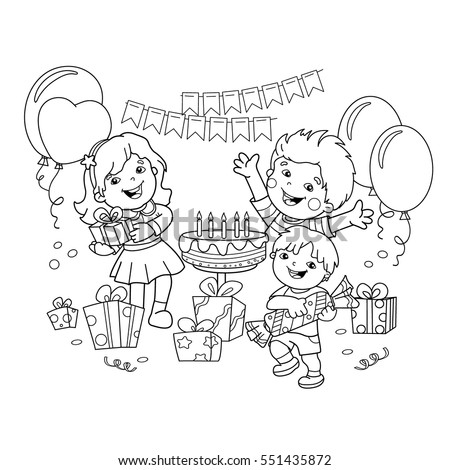 Coloring Page Outline Children Gifts Holiday Stock Vector (2018 ...