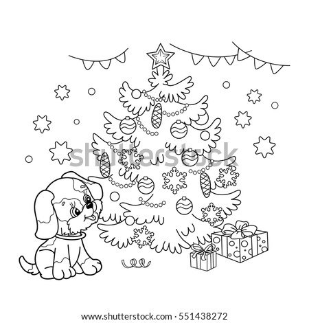 Coloring Page Outline Christmas Tree Ornaments Stock Vector (Royalty ...