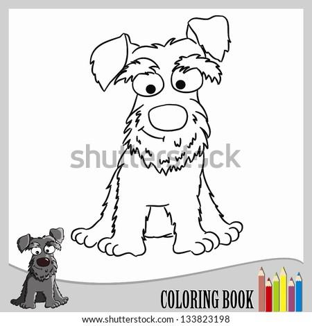 coloring page schnauzer vector