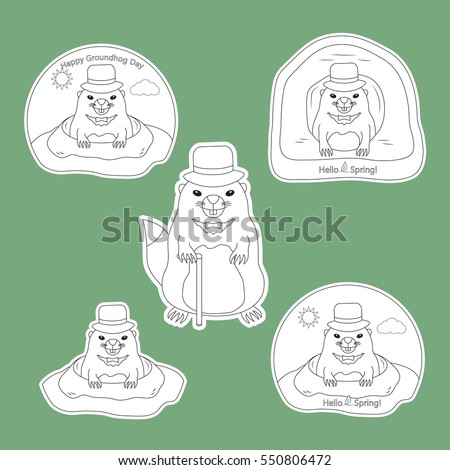 Coloring Page Set Stickers Happy Groundhog Stock Vector 550806472