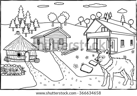 Coloring Page Three Little Pigs Stock Vector 366634658 - Shutterstock