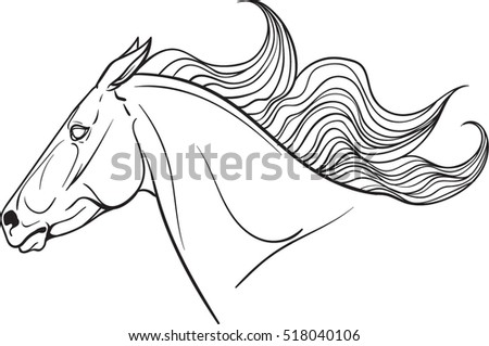 Coloring page with a horse portrait