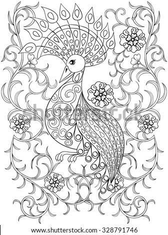 Coloring page with Bird in flowers, zentangle illustartion bird  for adult Coloring books or tattoos with high details isolated on white background. Vector monochrome sketch of exotic bird. - stock vector