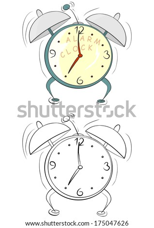 Coloring page with cartoon alarm clock on a white background. Vector - stock vector