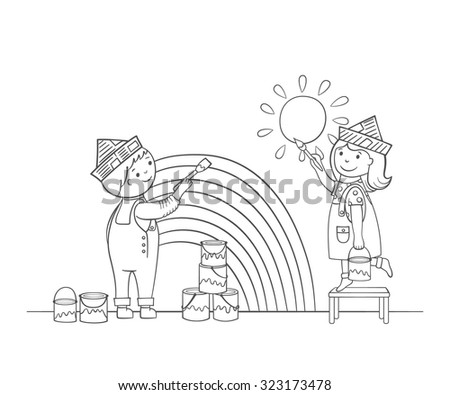 coloring page with cartoon style kids painting the wall - Cartoon Painting For Kids