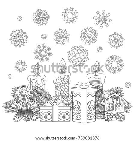 Coloring Page Christmas Ornaments Children Presents Stock