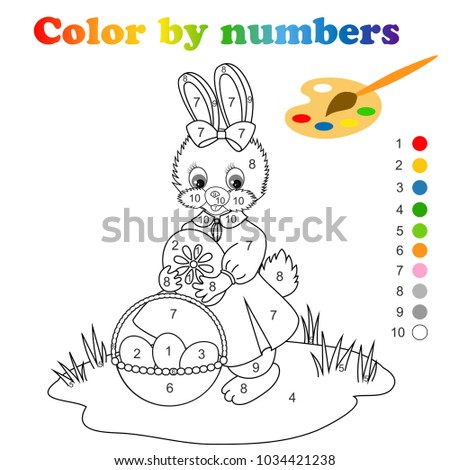 Coloring Page With Cute Easter Bunny By Numbers Is Educational Children Game Drawing