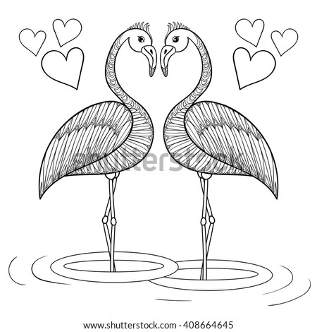 Coloring Page Flamingo Birds Love Zentangle Stock Vector 408664645 ...