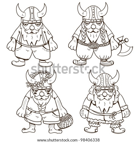 Coloring page with four cute Vikings - stock vector