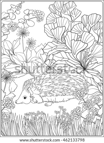 Coloring Page Lovely Hedgehog Garden Coloring Stock Vector (Royalty ...