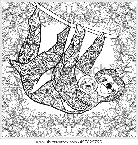 Coloring Page Lovely Sloth Forest Coloring Stock Vector HD (Royalty ...