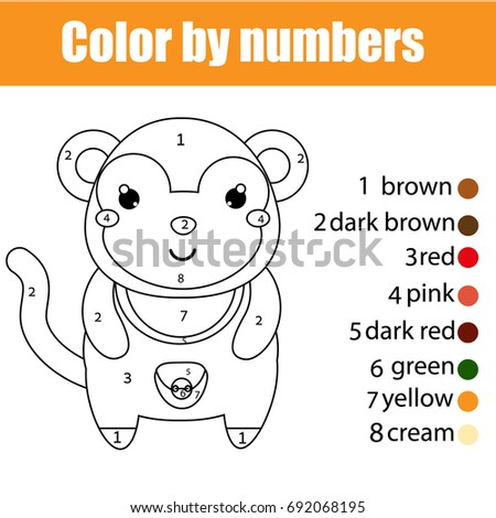 Coloring Page With Monkey Color By Numbers Educational Children Game Drawing Kids Activity