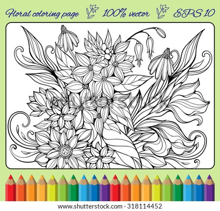 coloring page with various flowers and leaves